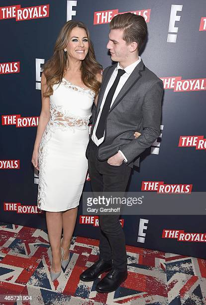 Actress Elizabeth Hurley and nephew model Miles Hurley attend 'The Royals' New York Series Premiere at The Standard Highline on March 9 2015 in New...