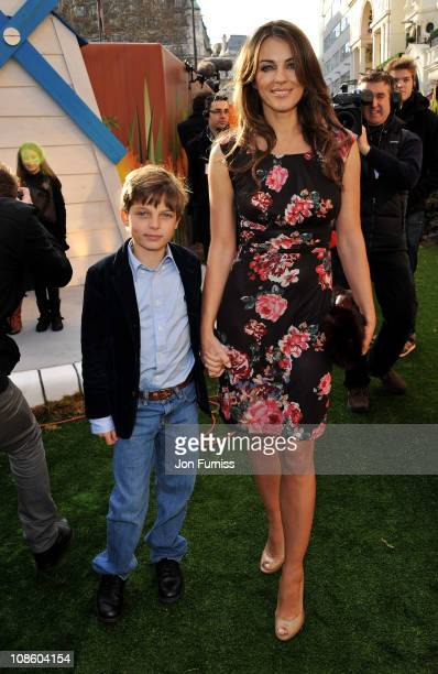 Actress Elizabeth Hurley and son Damian Charles Hurley attend the 'Gnomeo Juliet' premiere at Odeon Leicester Square on January 30 2011 in London...
