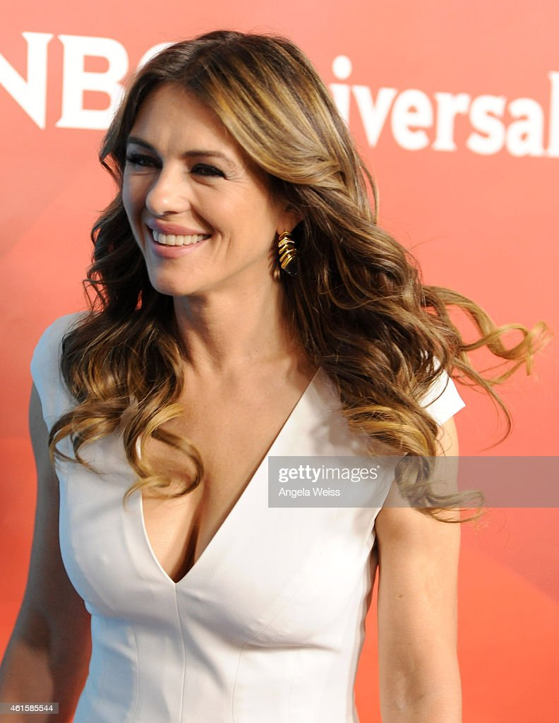 Actress Elizabeth Hurley arrives at NBCUniversal's 2015 Winter TCA Tour - Day 1 at The Langham Huntington Hotel and Spa on January 15, 2015 in Pasadena, California.