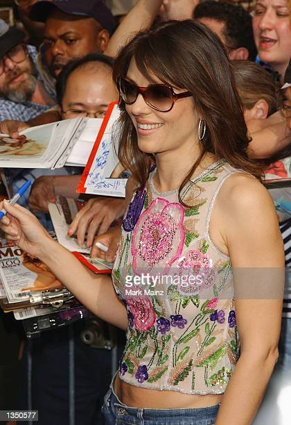 Actress Elizabeth Hurley arrives at the Ed Sullivan Theater for a taping of the David Letterman Show August 22 2002 in New York City
