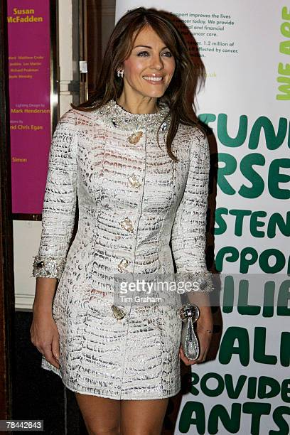 Actress Elizabeth Hurley attends a performance of Grease the Musical in aid of Macmillan Cancer Support at the Piccadilly Theatre on December 12 2007...