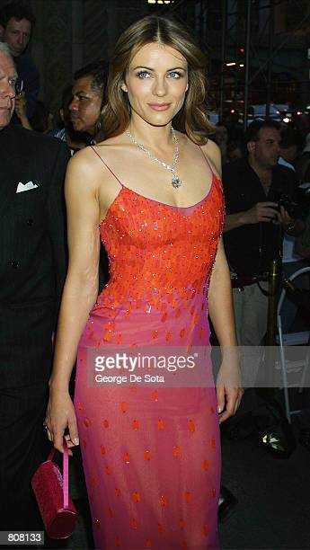 Actress Elizabeth Hurley attends the GoGo Lounge A Groovy Spring Gala Tribute to Larry Norton MD May 2 2001 at Cipriani's in New York City