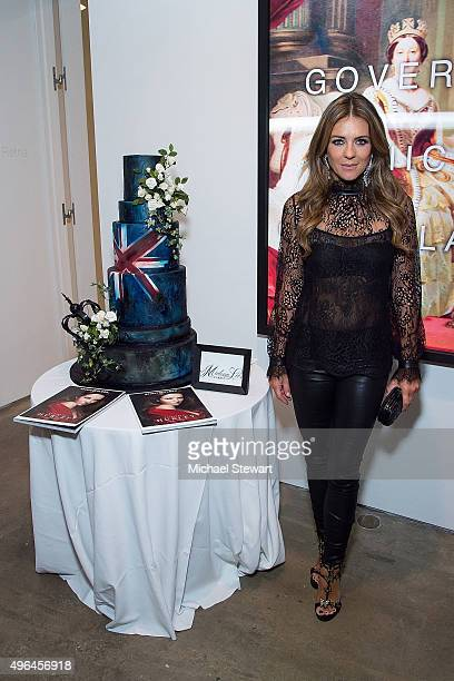 Actress Elizabeth Hurley attends the 'The Royals' series season two premiere celebration at Hoerle Guggenheim Gallery on November 9 2015 in New York...