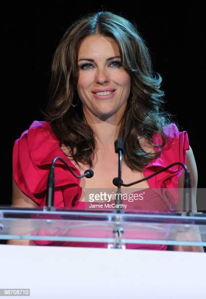 Actress Elizabeth Hurley speaks at the 2010 Breast Cancer Research Foundation's Hot Pink Party at The Waldorf=Astoria on April 27 2010 in New York...