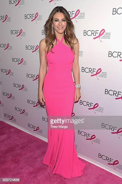 Actress Elizabeth Hurley walks the red carpet at the Breast Cancer Research Foundation's Hot Pink Party at the Waldorf Astoria Hotel on April 12 2016...