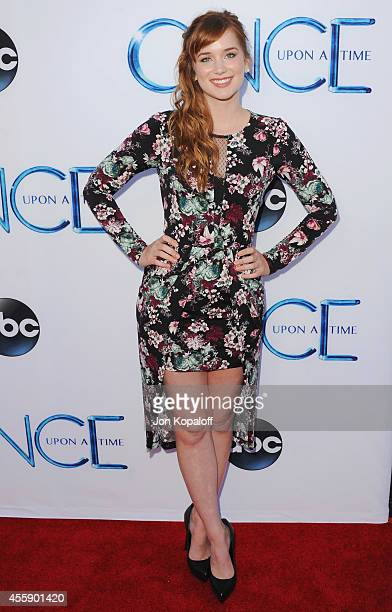 """Actress Elizabeth Lail arrives at ABC's """"Once Upon A Time"""" Season 4 Red Carpet Premiere at the El Capitan Theatre on September 21, 2014 in Hollywood,..."""