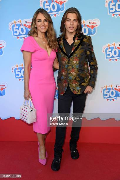 UK actress Elizabeth Liz Hurley and her son Damian Hurley during the 50th anniversary celebration of the brand Kinder at Heidepark on October 14 2018...