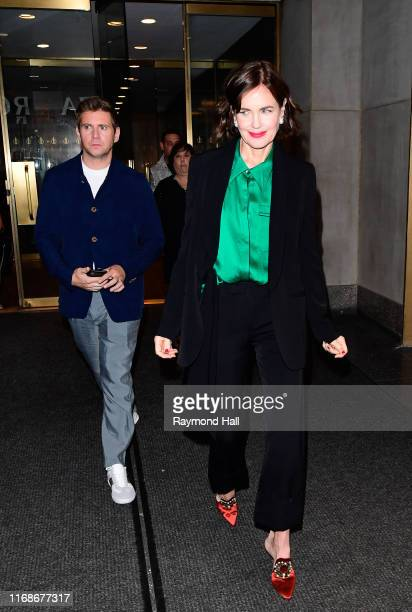 Actress Elizabeth McGovern and Allen Leech are seen leaving NBC on September 16, 2019 in New York City.