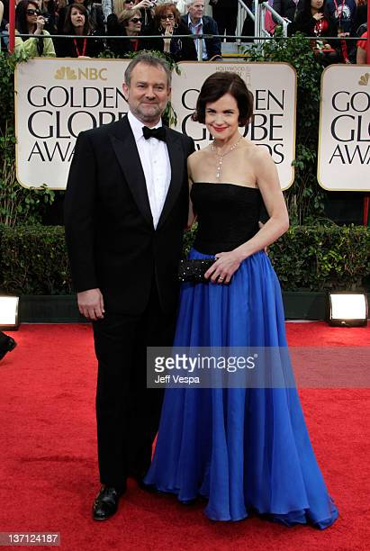 Actress Elizabeth McGovern and husband Hugh Bonneville arrive at the 69th Annual Golden Globe Awards held at the Beverly Hilton Hotel on January 15...