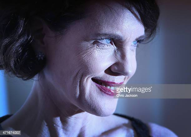 Actress Elizabeth McGovern attends The Downton Abbey Ball at The Savoy Hotel on April 30 2015 in London England