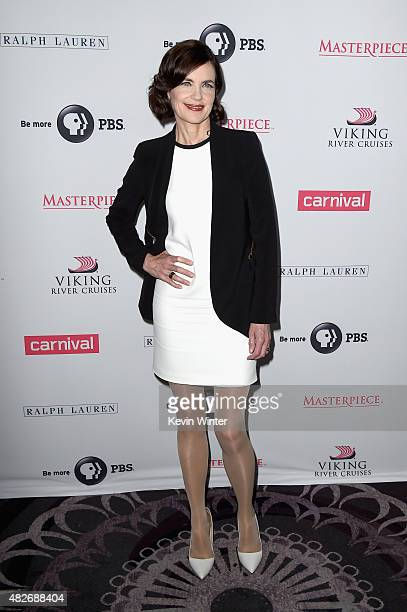 Actress Elizabeth McGovern attends the 'Downton Abbey' cast photo call during the 2015 Summer TCA Tour at The Beverly Hilton Hotel on August 1 2015...