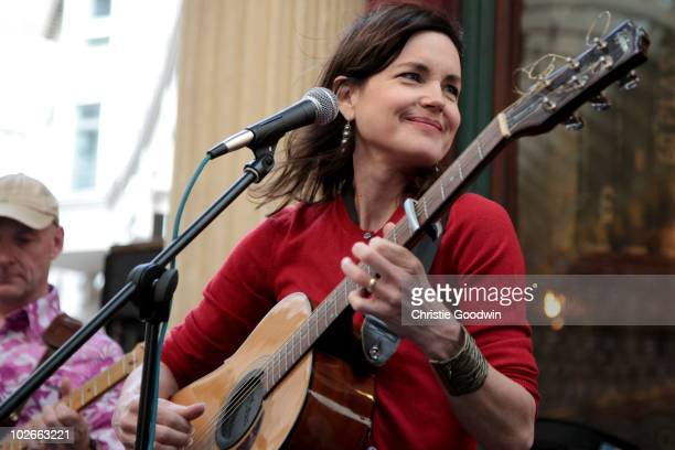 Actress Elizabeth McGovern performs with her band Sadie And The Hotheads as part of the Americana Festival at Leadenhall Market on July 6, 2010 in...