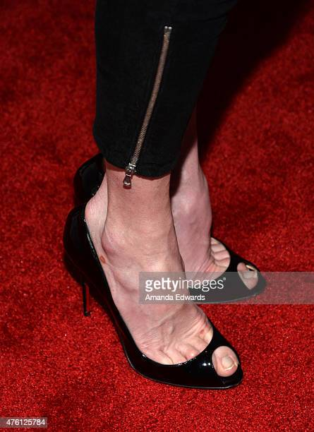 Actress Elizabeth McGovern shoe detail arrives at the Afternoon With 'Downton Abbey' Talent Panel at the Writers Guild Theater on June 6 2015 in...