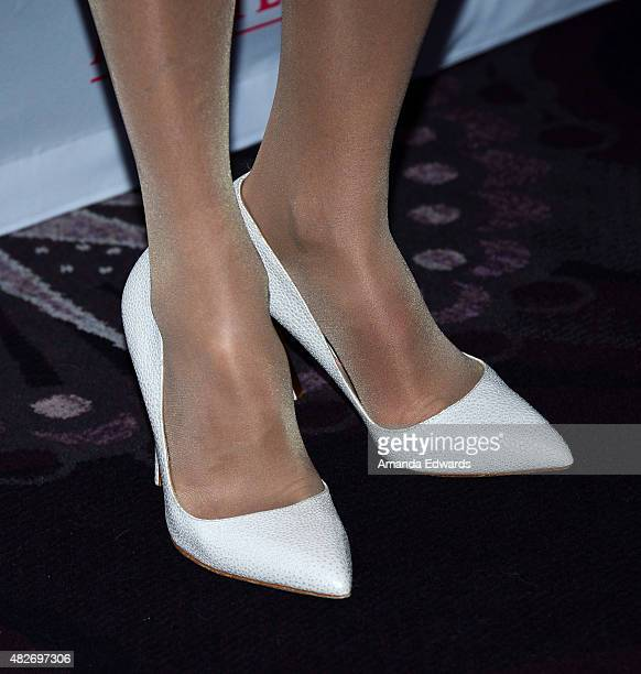 Actress Elizabeth McGovern shoe detail attends the 'Downton Abbey' cast photo call at The Beverly Hilton Hotel on August 1 2015 in Beverly Hills...
