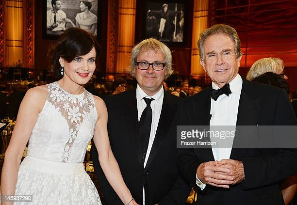 Actress Elizabeth McGovern Simon Curtis and actor Warren Beatty attend the 40th AFI Life Achievement Award honoring Shirley MacLaine held at Sony...