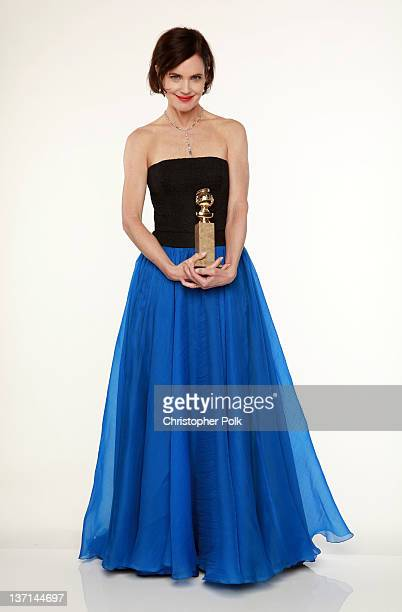Actress Elizabeth McGovern winner of the Best MiniSeries or Motion Picture Made for Television for Downton Abbey poses for a portrait backstage at...