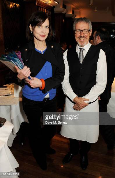 Actress Elizabeth McGovern working as a hostess and Griff Rhys Jones working as a waiter attend One Night Only at The Ivy featuring 30 stage and...