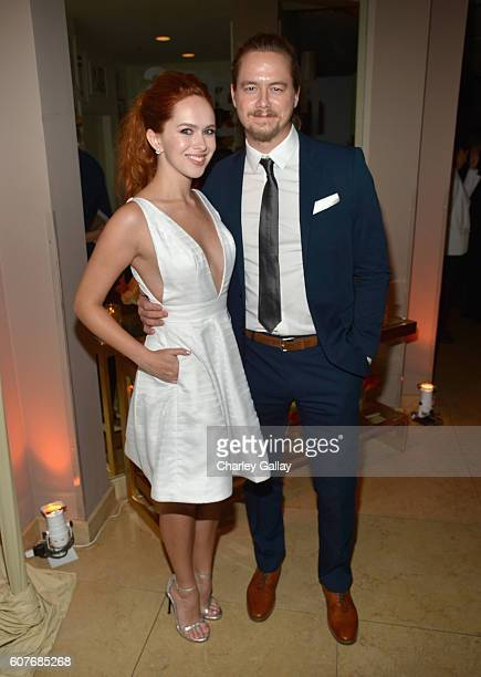 Actress Elizabeth McLaughlin and guest attend Amazon's Emmy Celebration at Sunset Tower Hotel West Hollywood on September 18 2016 in West Hollywood...