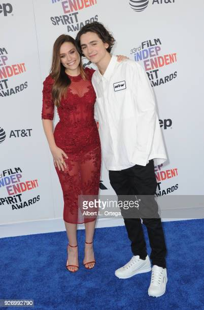 Actress Elizabeth Olsen and actor Timothee Chalamet arrive for the 2018 Film Independent Spirit Awards on March 3 2018 in Santa Monica California