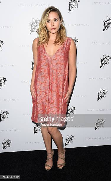 Actress Elizabeth Olsen arrives at Stella McCartney Autumn 2016 Presentation at Amoeba Music on January 12 2016 in Los Angeles California