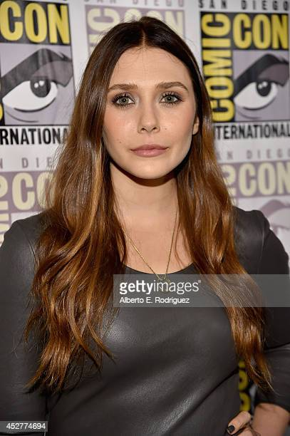 Actress Elizabeth Olsen attends Marvel's Hall H Press Line for 'AntMan' and 'Avengers Age Of Ultron' during ComicCon International 2014 at San Diego...