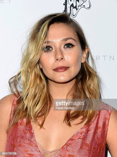 Actress Elizabeth Olsen attends Stella McCartney Autumn 2016 Presentation at Amoeba Music on January 12 2016 in Los Angeles California
