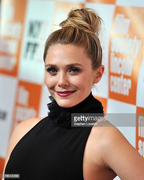 Actress Elizabeth Olsen attends the 49th annual New York Film Festival presentation of Martha Marcy May Marlene at Alice Tully Hall Lincoln Center on...