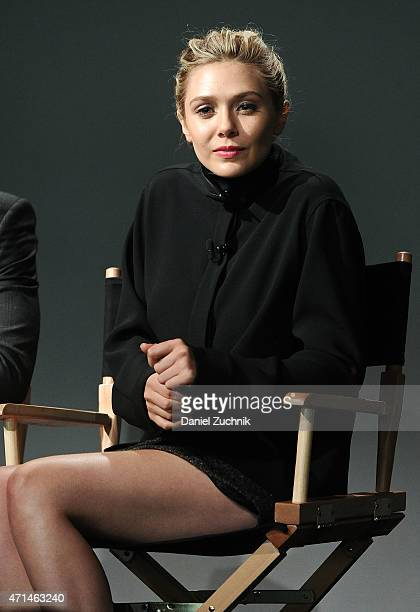 Actress Elizabeth Olsen attends the Apple Store Soho Presents Meet The Actor Elizabeth Olsen And Aaron TaylorJohnson 'Age of Ultron' at Apple Store...