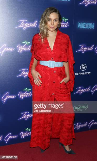 Actress Elizabeth Olsen attends The New York premiere of Ingrid Goes West hosted by Neon at Alamo Drafthouse Cinema on August 8 2017 in the Brooklyn...