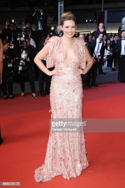 Actress Elizabeth Olsen attends the The Square screening during the 70th annual Cannes Film Festival at Palais des Festivals on May 20 2017 in Cannes...