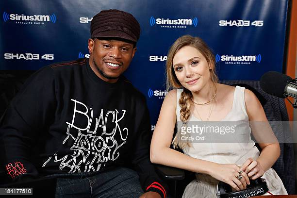 Actress Elizabeth Olsen visits 'Sway in the Morning' with Sway Calloway on Eminem's Shade 45 at the SiriusXM Studios on October 11 2013 in New York...
