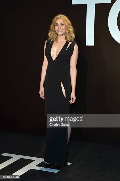 Actress Elizabeth Olsen wearing TOM FORD attends the TOM FORD Autumn/Winter 2015 Womenswear Collection Presentation at Milk Studios in Los Angeles on...