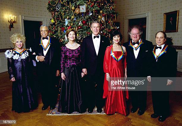 Actress Elizabeth Taylor actor James Earl Jones first lady Laura Bush US President George W Bush actress Chita Rivera conductor James Levine and...
