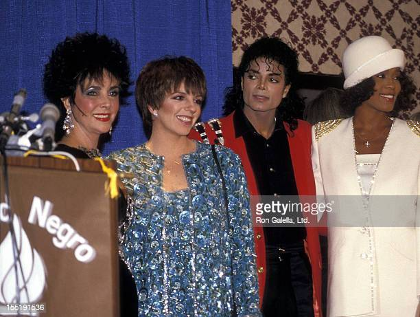 Actress Elizabeth Taylor actress Liza Minnelli singer Michael Jackson and singer Whitney Houston attend the United Negro College Fund's 44th...