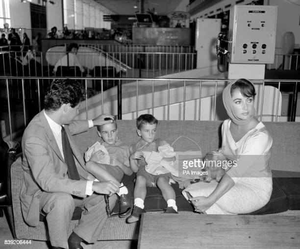Actress Elizabeth Taylor and her husband Eddie Fisher with her two sons from her former marriage Michael Wilding Jr and Christopher Wilding 4