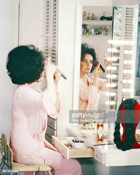 Actress Elizabeth Taylor in her dressing room circa 1975