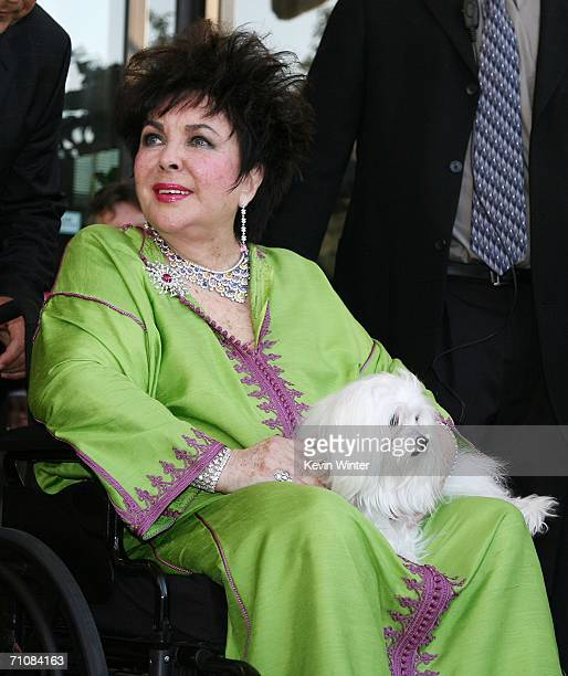 """Actress Elizabeth Taylor leaves the CNN building after appearing on """"Larry King Live"""" on May 30, 2006 in Los Angeles, California."""