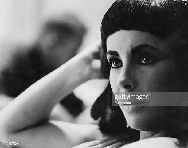 Actress Elizabeth Taylor on the set of the film 'Cleopatra', circa 1962.