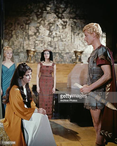 Actress Elizabeth Taylor stars as the titular Egyptian monarch in the 20th Century Fox film 'Cleopatra', 1963. Roddy McDowall plays Octavian, later...