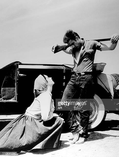 Actress Elizabeth Taylor with James Dean in a publicity still from the film 'Giant' during 1955 in the USA