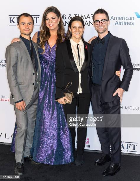 Actress Elizabeth Taylor's Grandchildren Rhys Tivey Elizabeth Carson and Quinn Tivey pose with Aileen Getty as the Elton John AIDS Foundation...