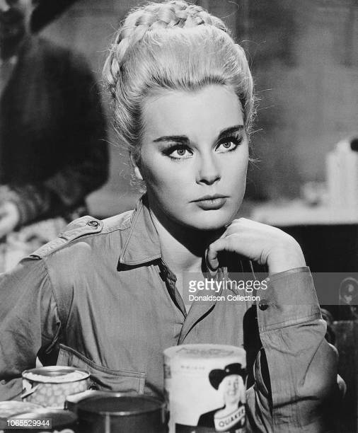 "Actress Elke Sommer in a scene from the movie ""The Victors"""