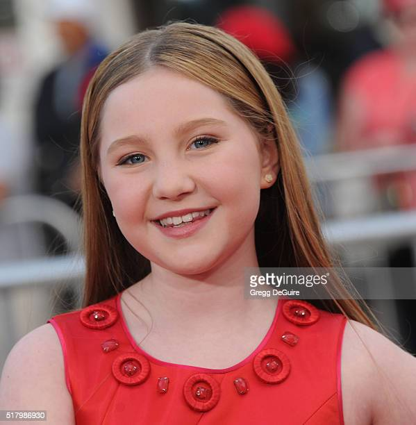 """Actress Ella Anderson arrives at the premiere of USA Pictures' """"The Boss"""" at Regency Village Theatre on March 28, 2016 in Westwood, California."""