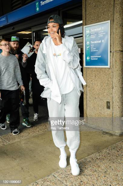 Actress Ella Balinska leaves the Salt Lake City International Airport on January 23, 2020 in Salt Lake City, Utah.