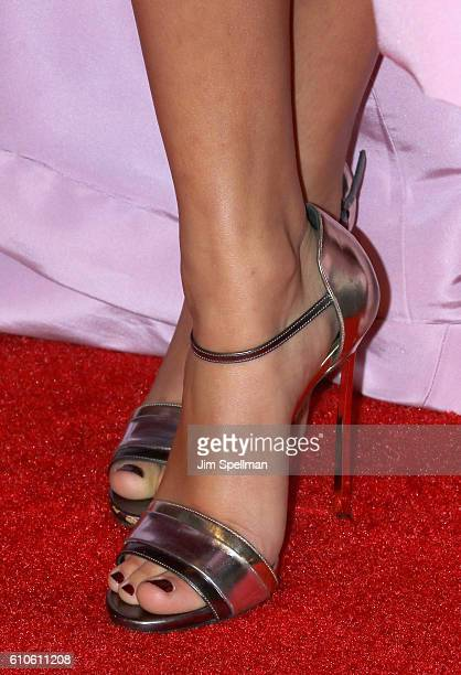 Actress Ella Purnell shoe detail attends the 'Miss Peregrine's Home For Peculiar Children' New York premiere at Saks Fifth Avenue on September 26...