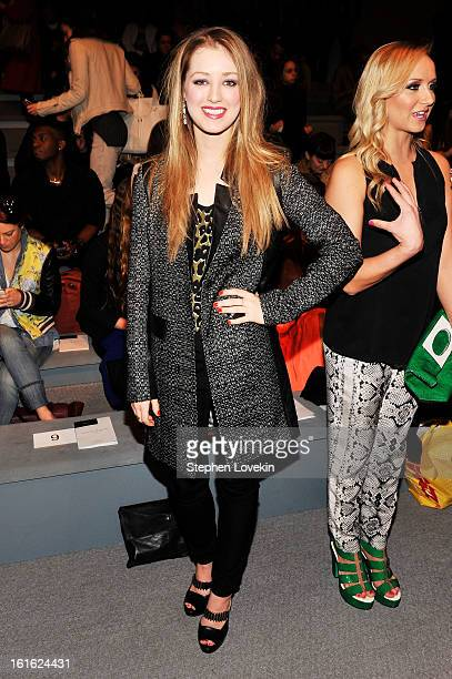Actress Ella Rae Peck and gymnast Nastia Liukin attend the Nanette Lepore Fall 2013 fashion show during MercedesBenz Fashion Week at The Stage at...