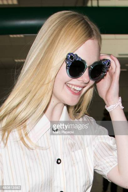 Actress Elle Fanning arrives at Nice airport ahead of the 70th annual Cannes Film Festival at on May 16 2017 in Cannes France