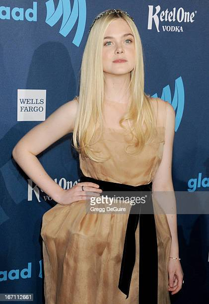 Actress Elle Fanning arrives at the 24th Annual GLAAD Media Awards at JW Marriott Los Angeles at LA LIVE on April 20 2013 in Los Angeles California