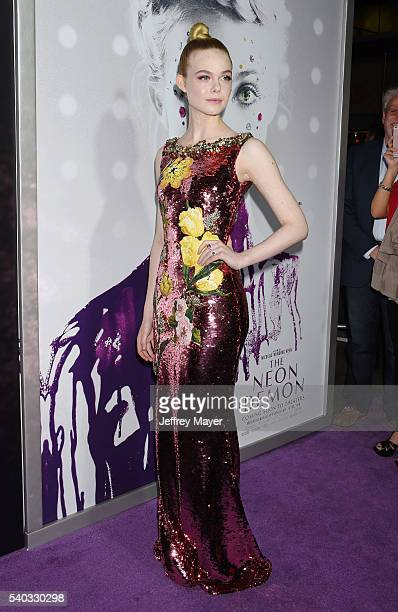 Actress Elle Fanning arrives at the premiere of Amazon's 'The Neon Demon' at ArcLight Cinemas Cinerama Dome on June 14, 2016 in Hollywood, California.