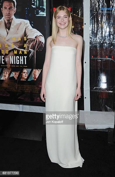 Actress Elle Fanning arrives at the Premiere of Live By Night at TCL Chinese Theatre on January 9 2017 in Hollywood California
